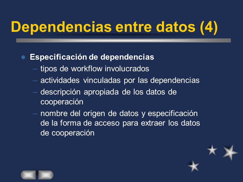 Dependencias entre datos (4) Especificación de dependencias –tipos de workflow involucrados –actividades vinculadas por las dependencias –descripción