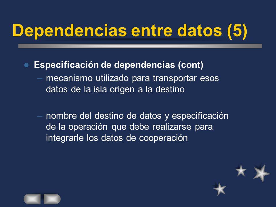 Dependencias entre datos (5) Especificación de dependencias (cont) –mecanismo utilizado para transportar esos datos de la isla origen a la destino –no
