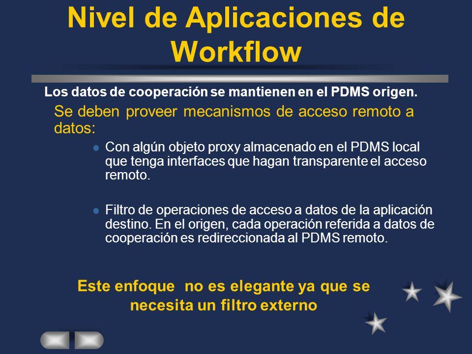Nivel de Aplicaciones de Workflow Los datos de cooperación se mantienen en el PDMS origen. Se deben proveer mecanismos de acceso remoto a datos: Con a