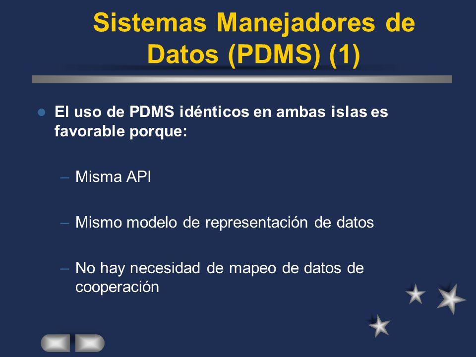 Sistemas Manejadores de Datos (PDMS) (1) El uso de PDMS idénticos en ambas islas es favorable porque: –Misma API –Mismo modelo de representación de da