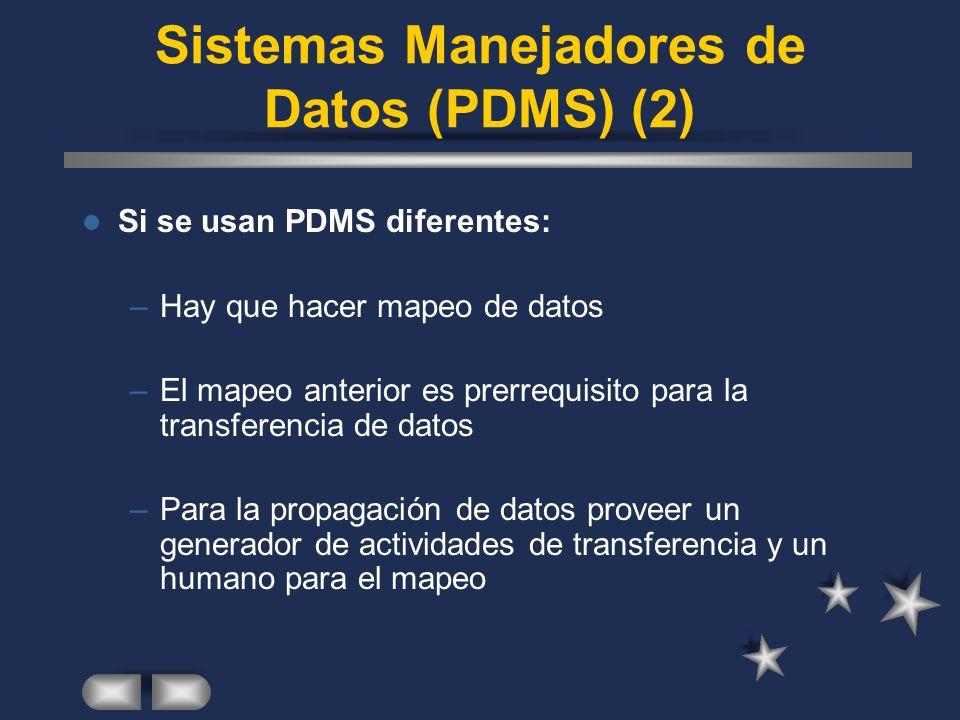 Si se usan PDMS diferentes: –Hay que hacer mapeo de datos –El mapeo anterior es prerrequisito para la transferencia de datos –Para la propagación de d