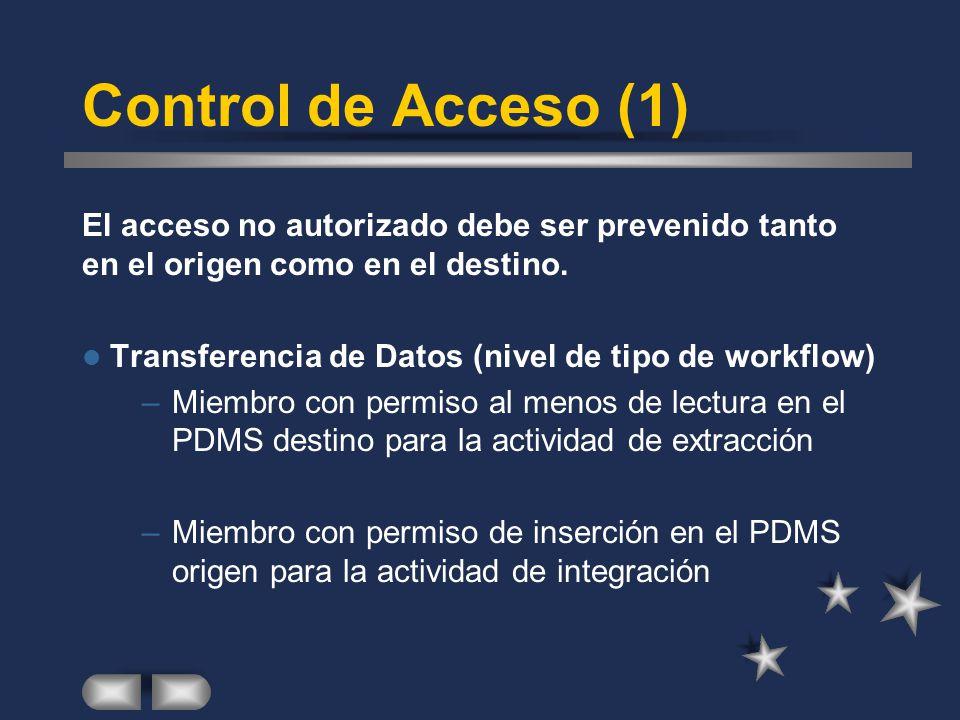 Control de Acceso (1) El acceso no autorizado debe ser prevenido tanto en el origen como en el destino. Transferencia de Datos (nivel de tipo de workf