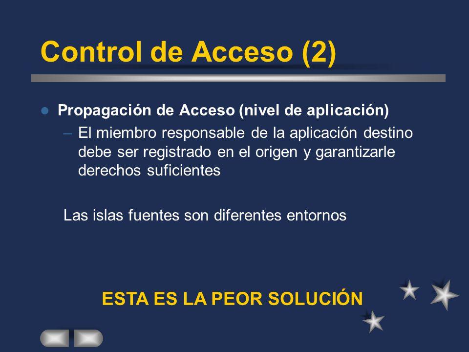 Control de Acceso (2) Propagación de Acceso (nivel de aplicación) –El miembro responsable de la aplicación destino debe ser registrado en el origen y