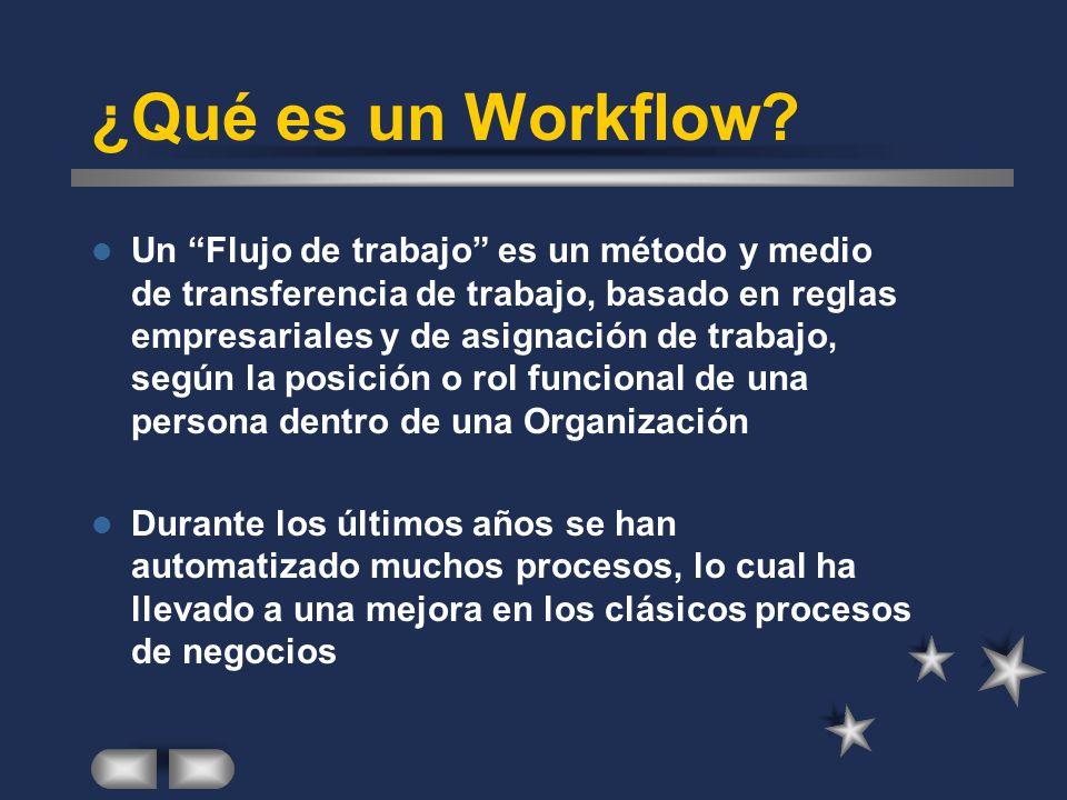 ¿Qué es un Workflow? Un Flujo de trabajo es un método y medio de transferencia de trabajo, basado en reglas empresariales y de asignación de trabajo,