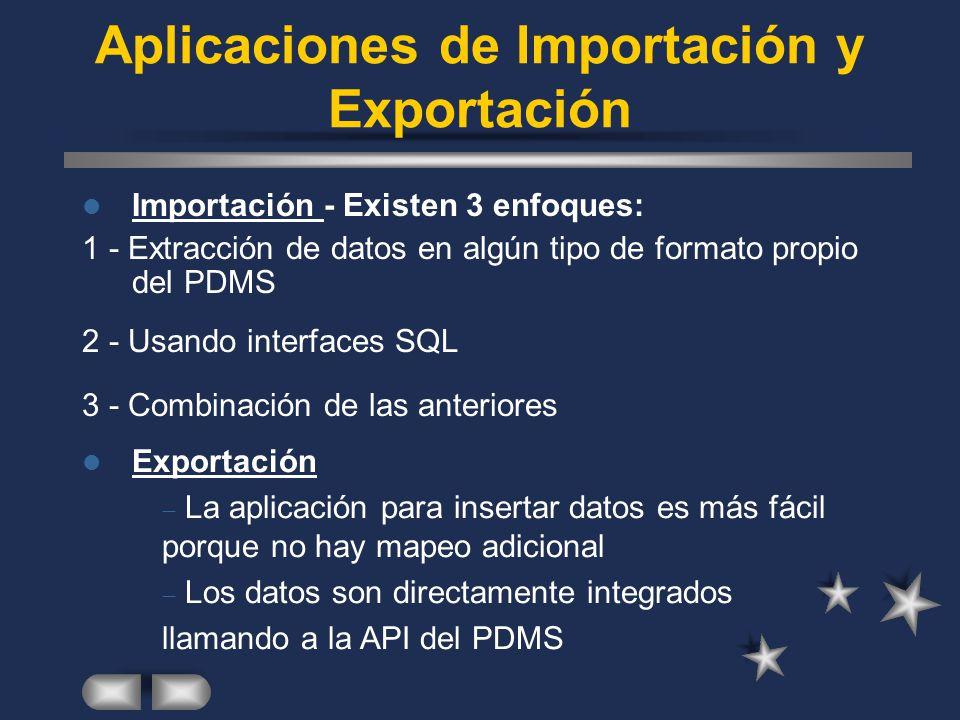 Aplicaciones de Importación y Exportación Importación - Existen 3 enfoques: 1 - Extracción de datos en algún tipo de formato propio del PDMS Exportaci