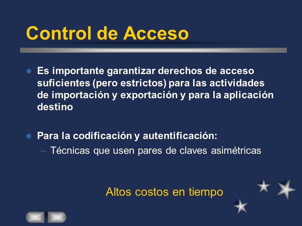 Control de Acceso Es importante garantizar derechos de acceso suficientes (pero estrictos) para las actividades de importación y exportación y para la