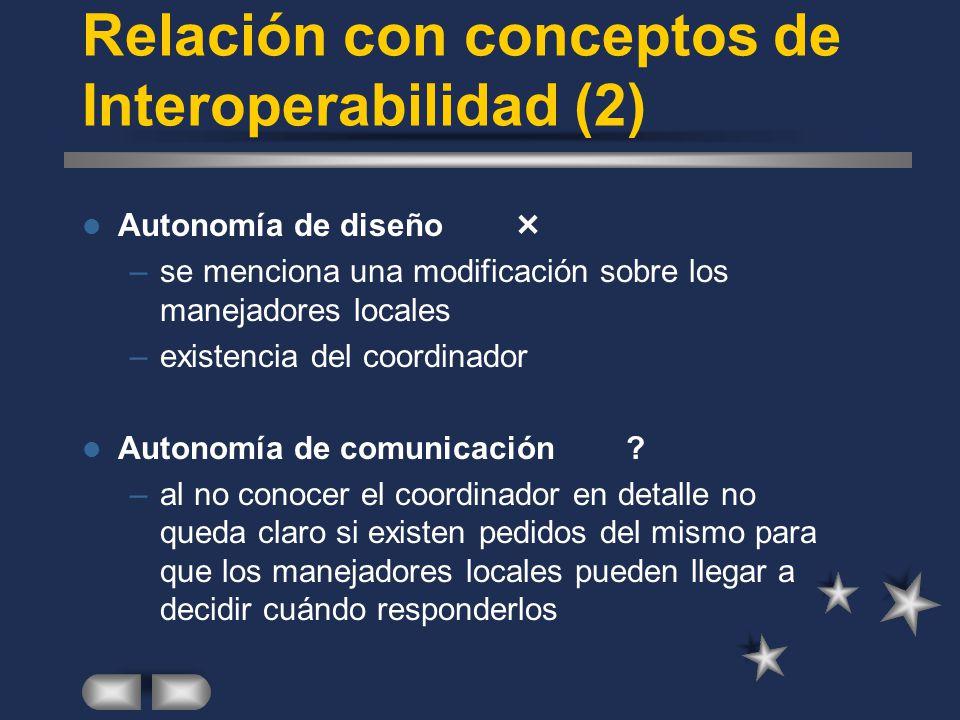 Relación con conceptos de Interoperabilidad (2) Autonomía de diseño –se menciona una modificación sobre los manejadores locales –existencia del coordi