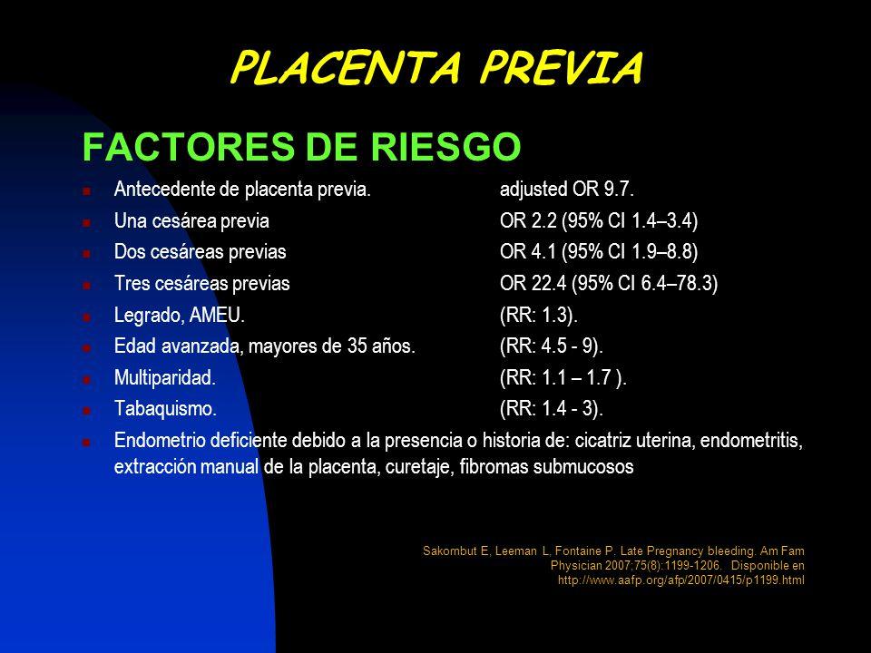 FACTORES DE RIESGO Antecedente de placenta previa.adjusted OR 9.7. Una cesárea previaOR 2.2 (95% CI 1.4–3.4) Dos cesáreas previasOR 4.1 (95% CI 1.9–8.