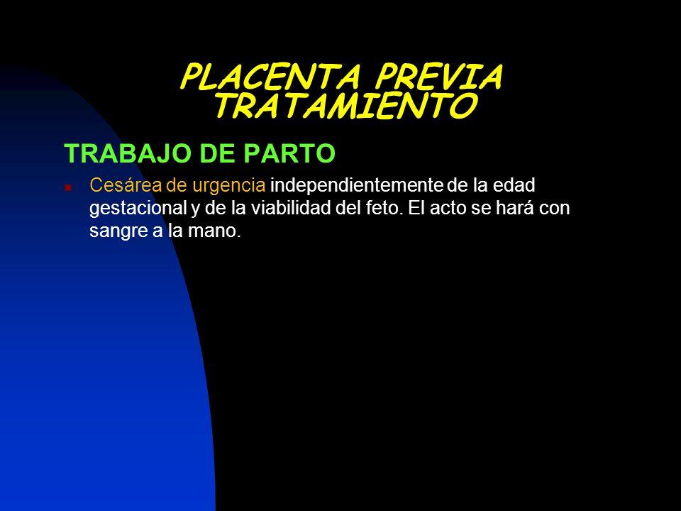 TRABAJO DE PARTO Cesárea de urgencia independientemente de la edad gestacional y de la viabilidad del feto. El acto se hará con sangre a la mano. PLAC