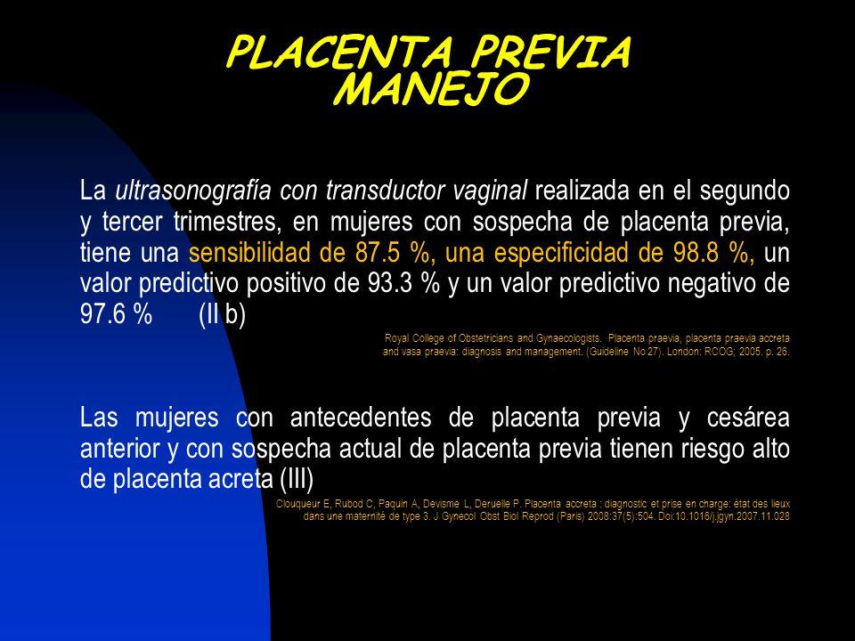 La ultrasonografía con transductor vaginal realizada en el segundo y tercer trimestres, en mujeres con sospecha de placenta previa, tiene una sensibil