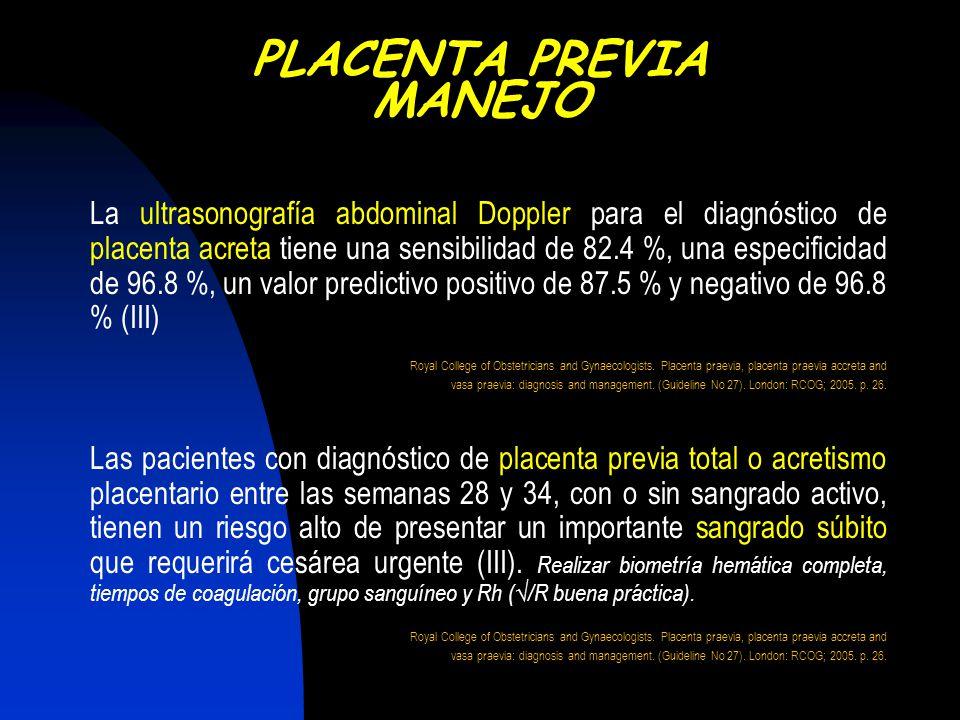 La ultrasonografía abdominal Doppler para el diagnóstico de placenta acreta tiene una sensibilidad de 82.4 %, una especificidad de 96.8 %, un valor pr