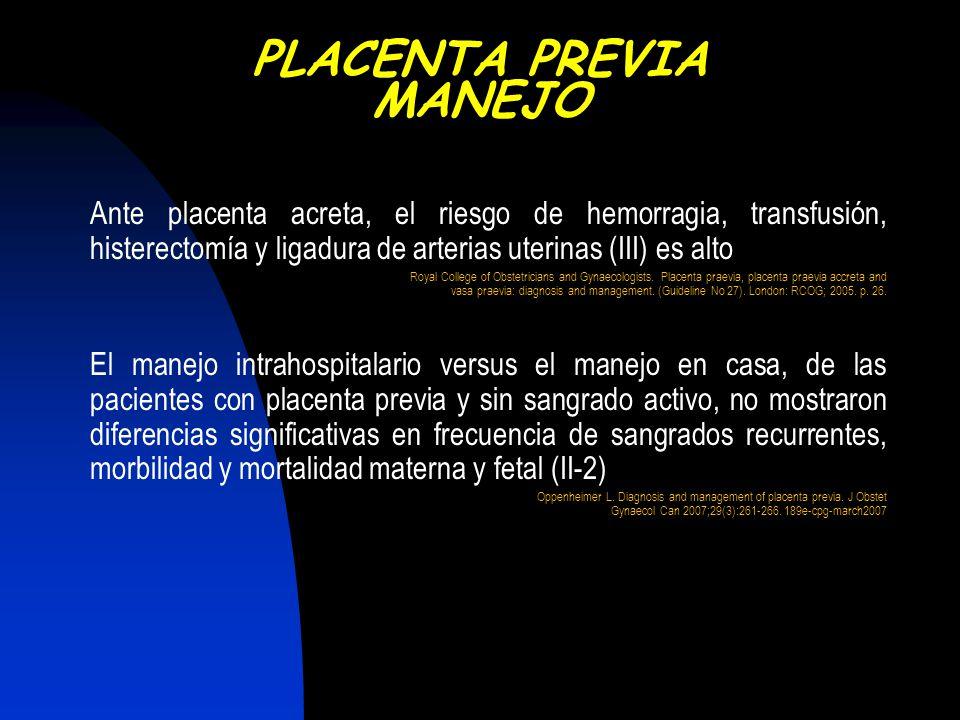 Ante placenta acreta, el riesgo de hemorragia, transfusión, histerectomía y ligadura de arterias uterinas (III) es alto Royal College of Obstetricians