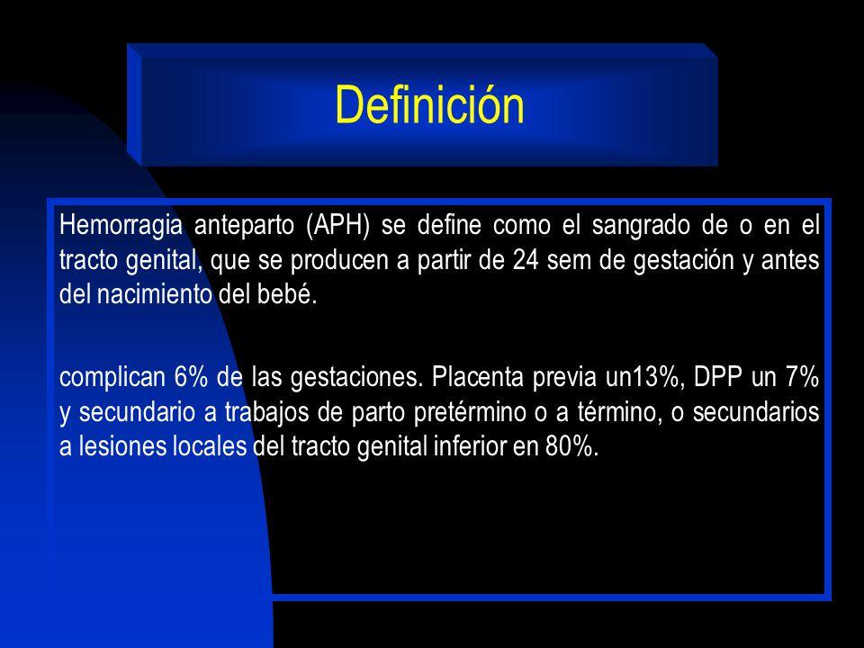 Definición Hemorragia anteparto (APH) se define como el sangrado de o en el tracto genital, que se producen a partir de 24 sem de gestación y antes de