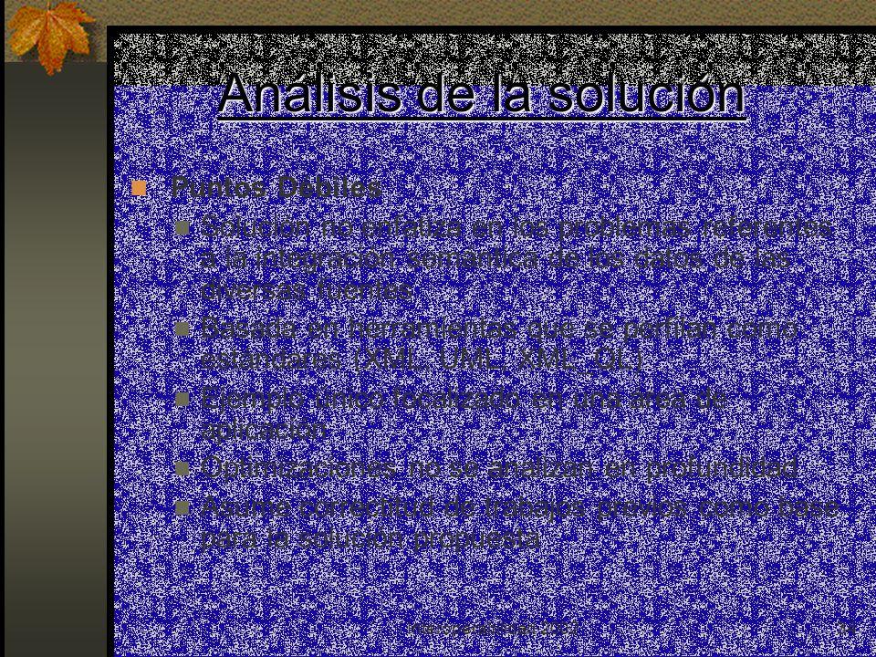 Interoperabilidad 200234 Análisis de la solución Puntos Débiles Solución no enfatiza en los problemas referentes a la integración semántica de los dat