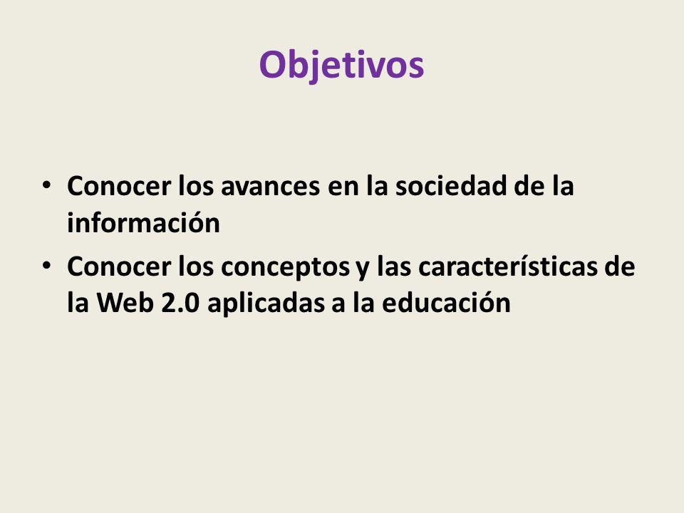 Objetivos Conocer los avances en la sociedad de la información Conocer los conceptos y las características de la Web 2.0 aplicadas a la educación