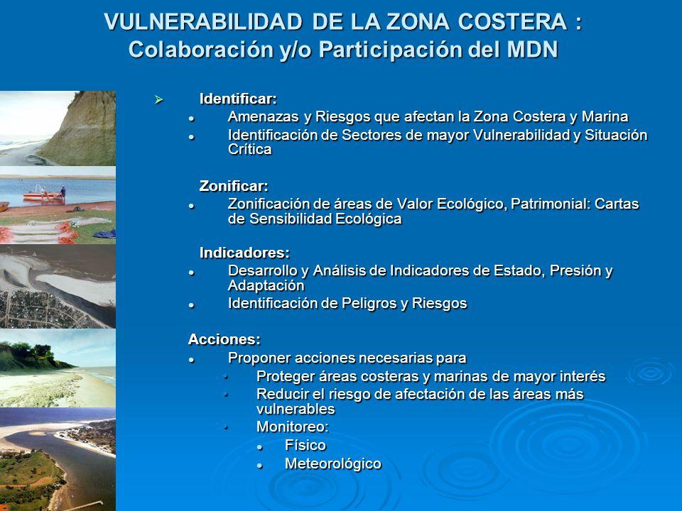VULNERABILIDAD DE LA ZONA COSTERA : Colaboración y/o Participación del MDN Identificar: Identificar: Amenazas y Riesgos que afectan la Zona Costera y