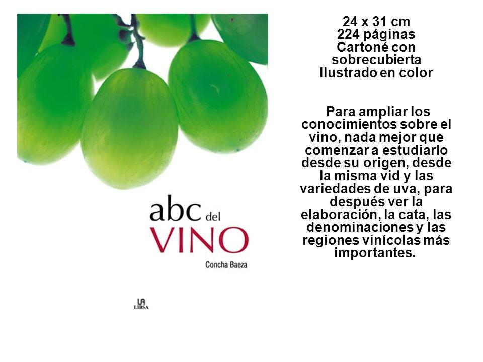 24 x 31 cm 224 páginas Cartoné con sobrecubierta Ilustrado en color Para ampliar los conocimientos sobre el vino, nada mejor que comenzar a estudiarlo desde su origen, desde la misma vid y las variedades de uva, para después ver la elaboración, la cata, las denominaciones y las regiones vinícolas más importantes.