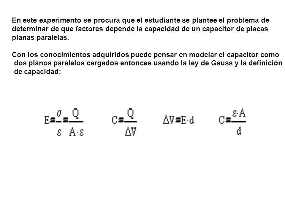 En este experimento se procura que el estudiante se plantee el problema de determinar de que factores depende la capacidad de un capacitor de placas planas paralelas.