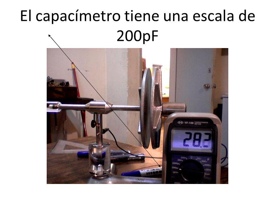 El capacímetro tiene una escala de 200pF