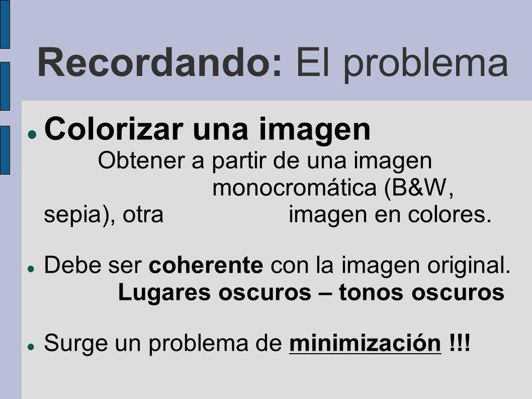 Recordando: El problema Colorizar una imagen Obtener a partir de una imagen monocromática (B&W, sepia), otra imagen en colores. Debe ser coherente con