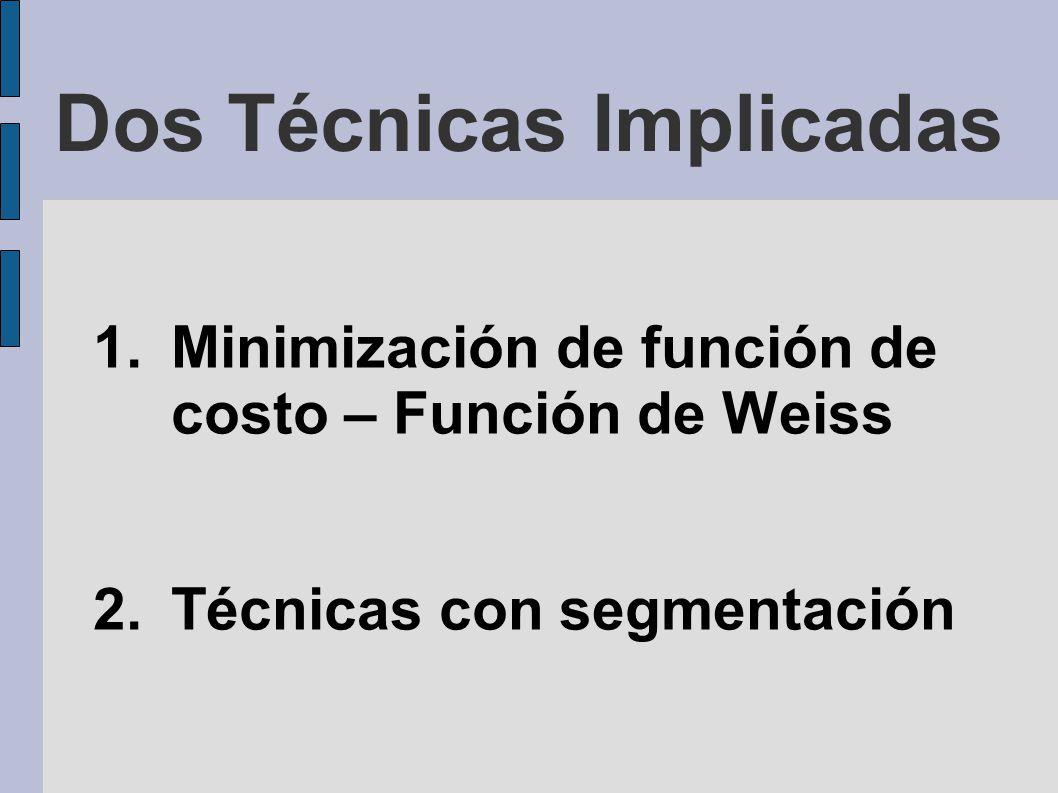 Dos Técnicas Implicadas 1.Minimización de función de costo – Función de Weiss 2.Técnicas con segmentación