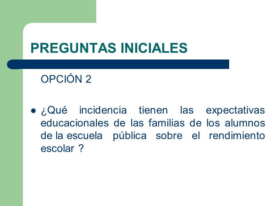 PREGUNTAS INICIALES OPCIÓN 2 ¿Qué incidencia tienen las expectativas educacionales de las familias de los alumnos de la escuela pública sobre el rendi