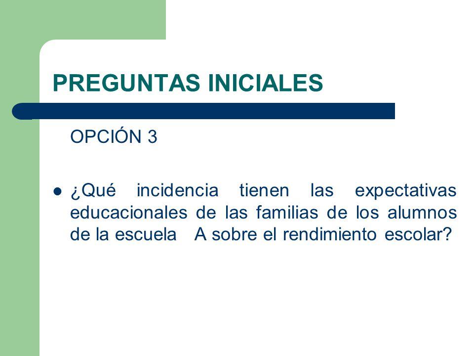 PREGUNTAS INICIALES OPCIÓN 3 ¿Qué incidencia tienen las expectativas educacionales de las familias de los alumnos de la escuela A sobre el rendimiento