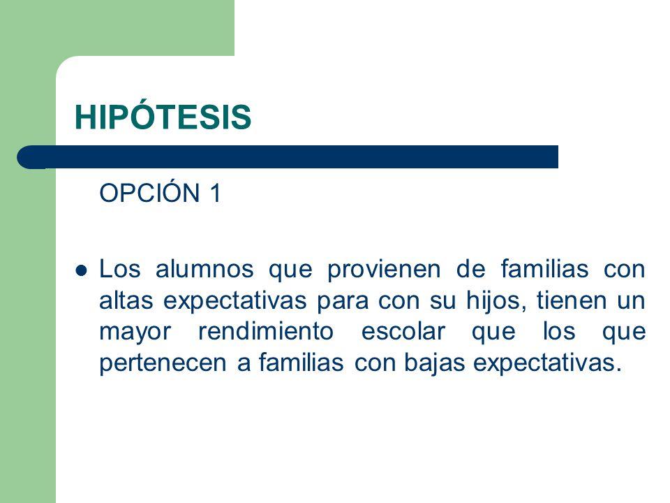 HIPÓTESIS OPCIÓN 1 Los alumnos que provienen de familias con altas expectativas para con su hijos, tienen un mayor rendimiento escolar que los que per