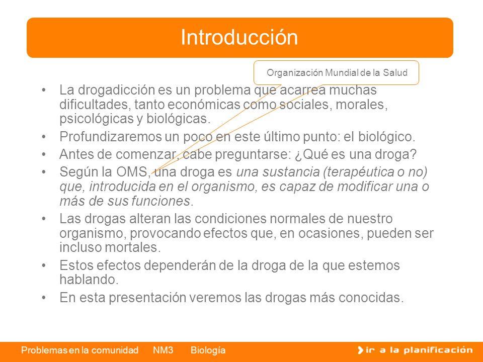 Problemas en la comunidad NM3 Biología La drogadicción es un problema que acarrea muchas dificultades, tanto económicas como sociales, morales, psicológicas y biológicas.