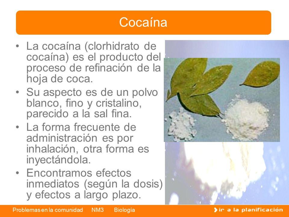 Problemas en la comunidad NM3 Biología La cocaína (clorhidrato de cocaína) es el producto del proceso de refinación de la hoja de coca. Su aspecto es