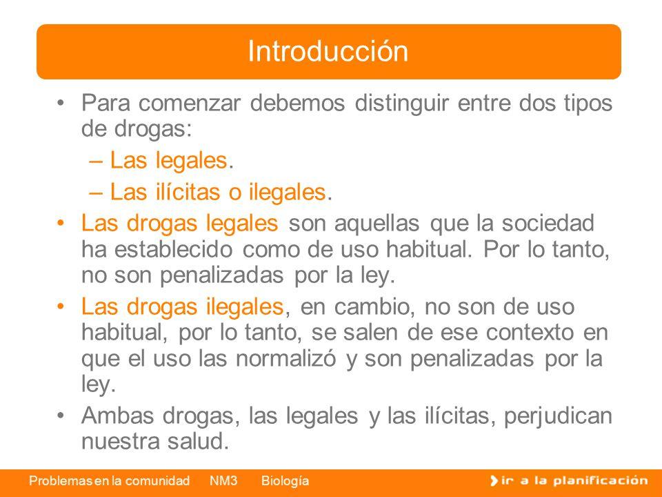 Problemas en la comunidad NM3 Biología Para comenzar debemos distinguir entre dos tipos de drogas: –Las legales. –Las ilícitas o ilegales. Las drogas