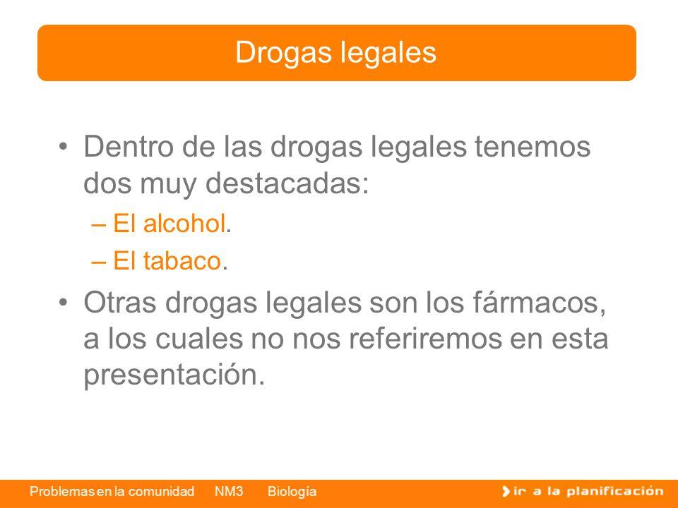 Problemas en la comunidad NM3 Biología Dentro de las drogas legales tenemos dos muy destacadas: –El alcohol. –El tabaco. Otras drogas legales son los