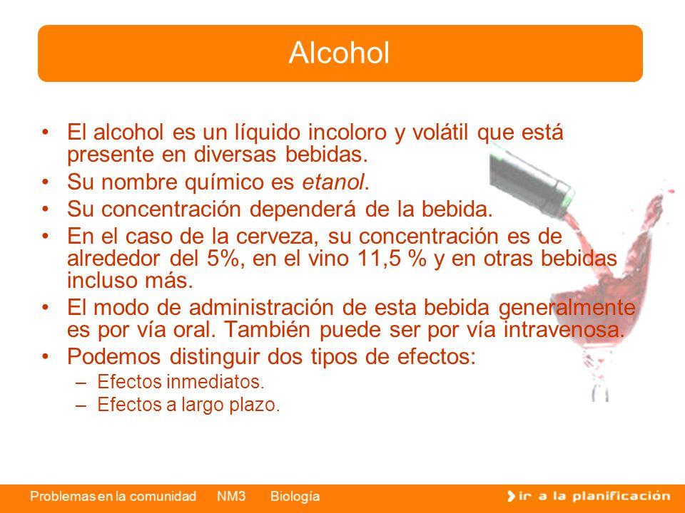 Problemas en la comunidad NM3 Biología El alcohol es un líquido incoloro y volátil que está presente en diversas bebidas. Su nombre químico es etanol.