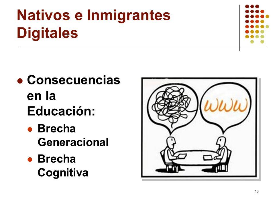 10 Nativos e Inmigrantes Digitales Consecuencias en la Educación: Brecha Generacional Brecha Cognitiva