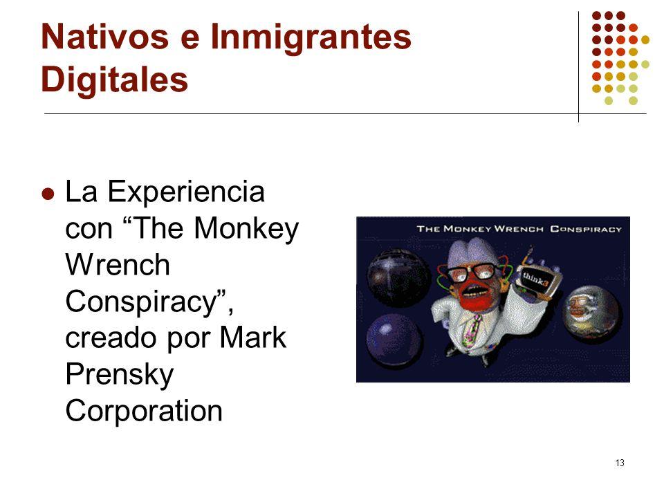 13 Nativos e Inmigrantes Digitales La Experiencia con The Monkey Wrench Conspiracy, creado por Mark Prensky Corporation