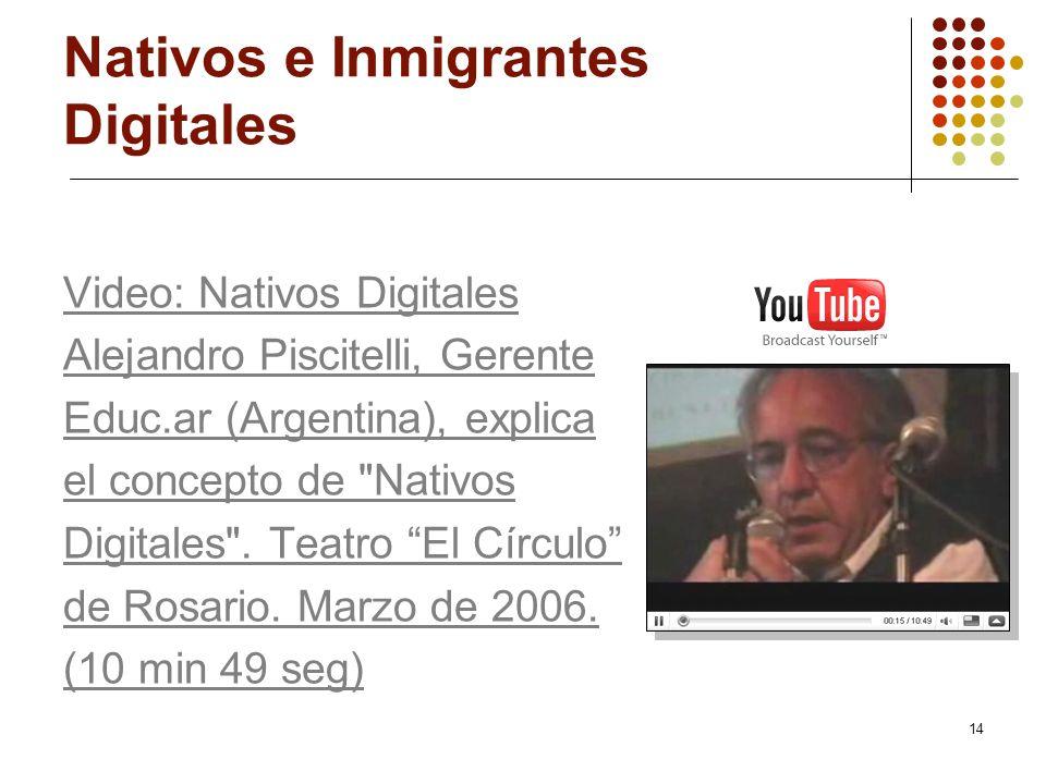 14 Nativos e Inmigrantes Digitales Video: Nativos Digitales Alejandro Piscitelli, Gerente Educ.ar (Argentina), explica el concepto de