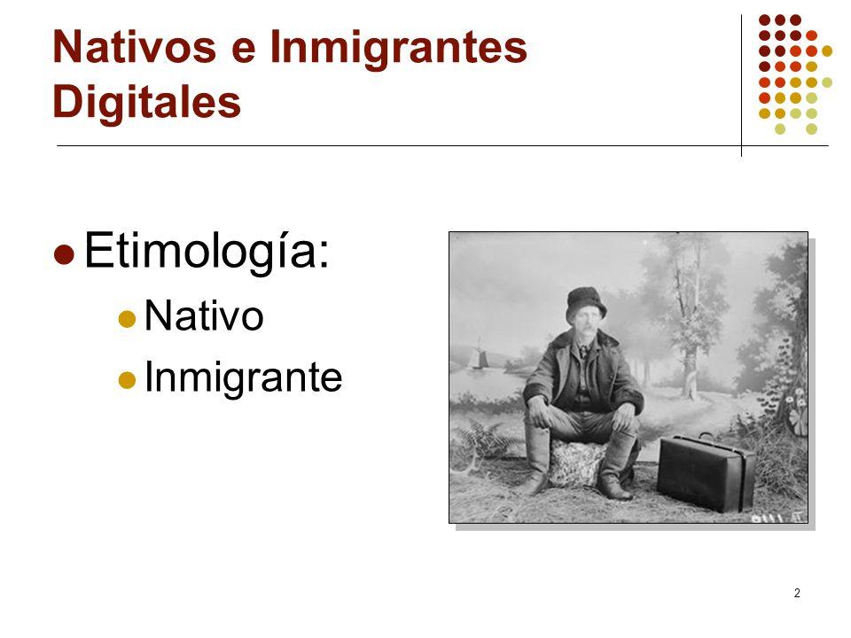 2 Nativos e Inmigrantes Digitales Etimología: Nativo Inmigrante