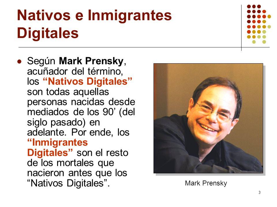 3 Nativos e Inmigrantes Digitales Según Mark Prensky, acuñador del término, los Nativos Digitales son todas aquellas personas nacidas desde mediados d