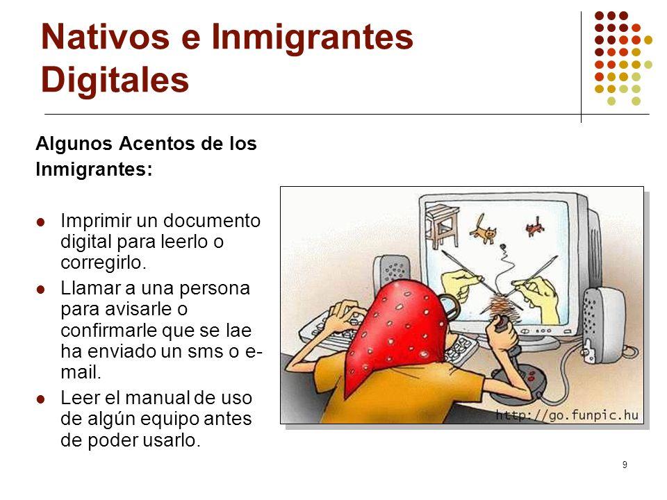 9 Nativos e Inmigrantes Digitales Algunos Acentos de los Inmigrantes: Imprimir un documento digital para leerlo o corregirlo. Llamar a una persona par