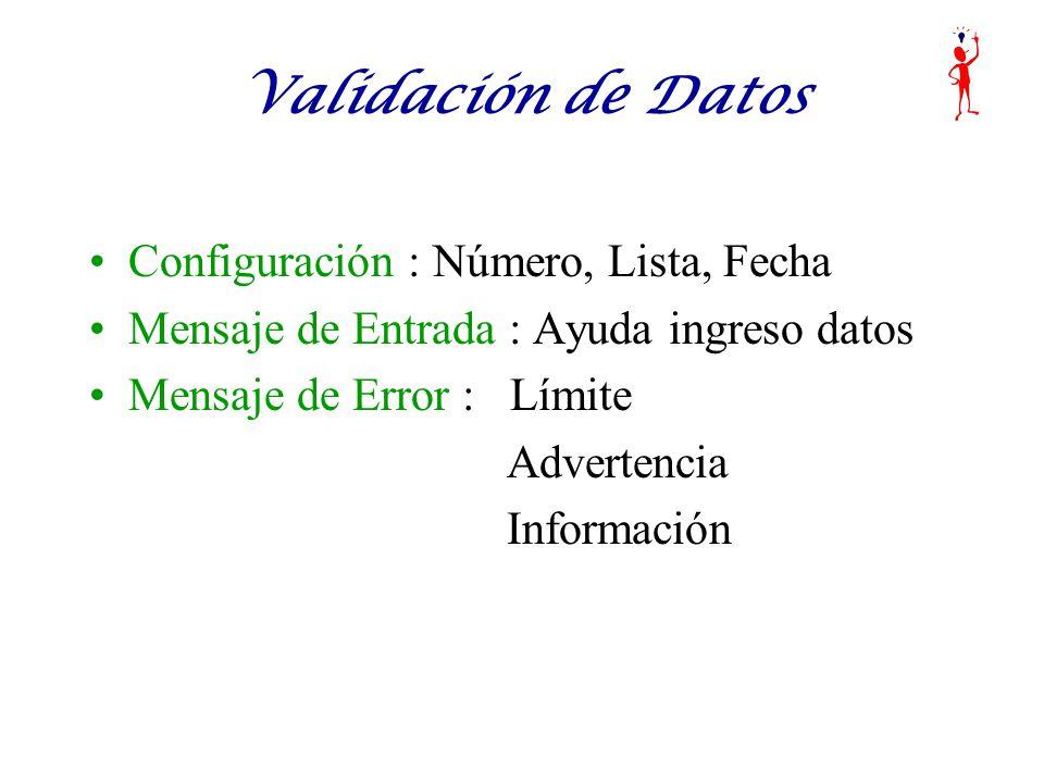Validación de Datos Configuración : Número, Lista, Fecha Mensaje de Entrada : Ayuda ingreso datos Mensaje de Error : Límite Advertencia Información