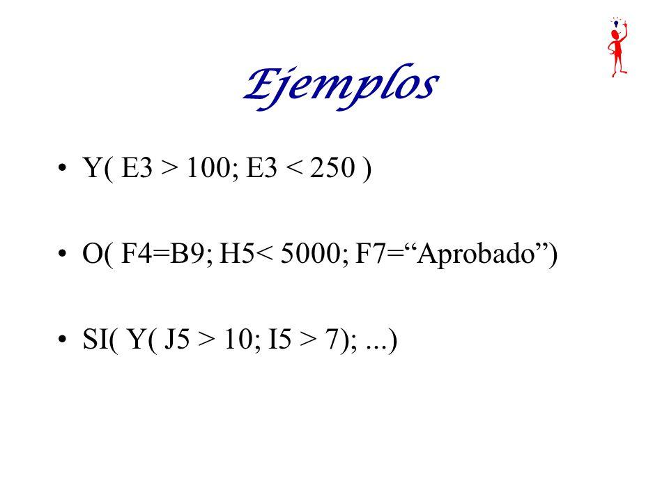 Y( E3 > 100; E3 < 250 ) O( F4=B9; H5< 5000; F7=Aprobado) SI( Y( J5 > 10; I5 > 7);...)