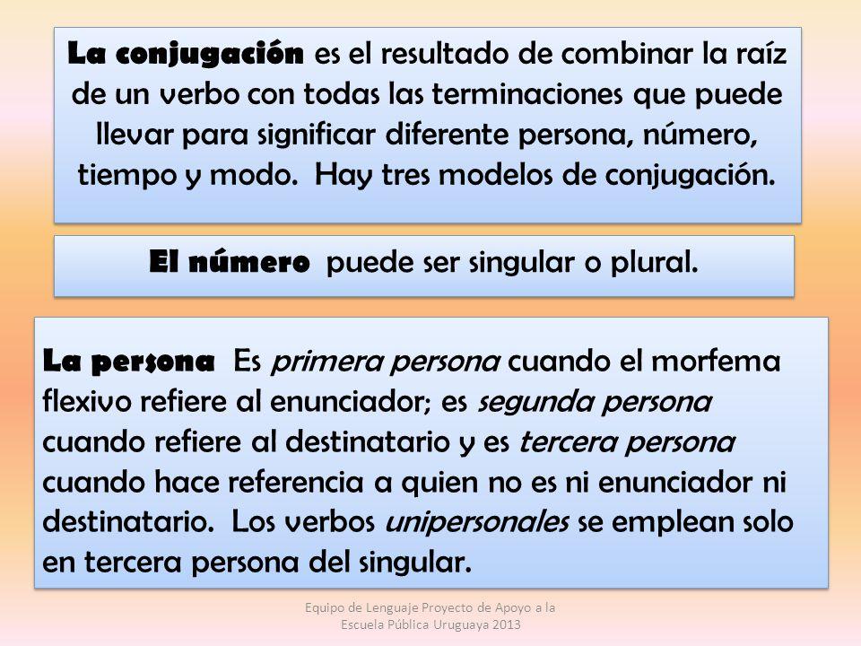 La conjugación es el resultado de combinar la raíz de un verbo con todas las terminaciones que puede llevar para significar diferente persona, número,