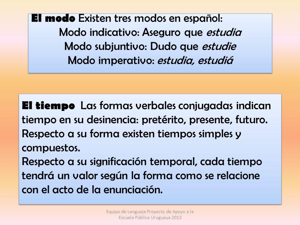 M ODO INDICATIVO T IEMPOS SIMPLES Presente (CANTO) Pretérito perfecto simple (CANTÉ) Pretérito imperfecto (CANTABA) Futuro simple (CANTARÉ) Condicional simple (CANTARÍA) T IEMPOS COMPUESTOS Pretérito perfecto compuesto (HE CANTADO) Pretérito pluscuamperfecto (HABÍA CANTADO) Pretérito anterior (HUBE CANTADO) Futuro compuesto (HABRÉ CANTADO) Condicional compuesto (HABRÍA CANTADO) Equipo de Lenguaje Proyecto de Apoyo a la Escuela Pública Uruguaya 2013