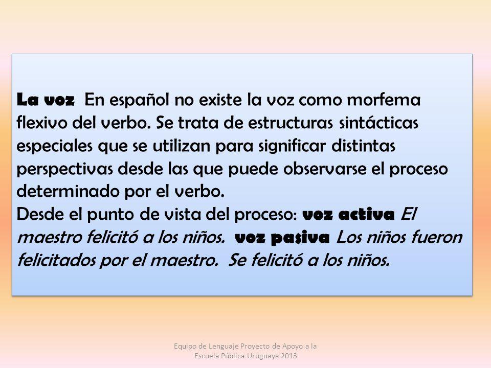 La voz En español no existe la voz como morfema flexivo del verbo. Se trata de estructuras sintácticas especiales que se utilizan para significar dist