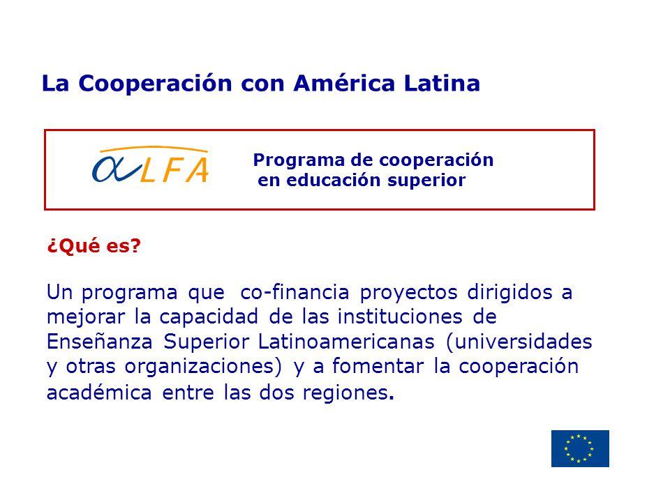 Delegación de la Unión Europea Uruguay Programa de cooperación en educación superior La Cooperación con América Latina ¿Qué es? Un programa que co-fin