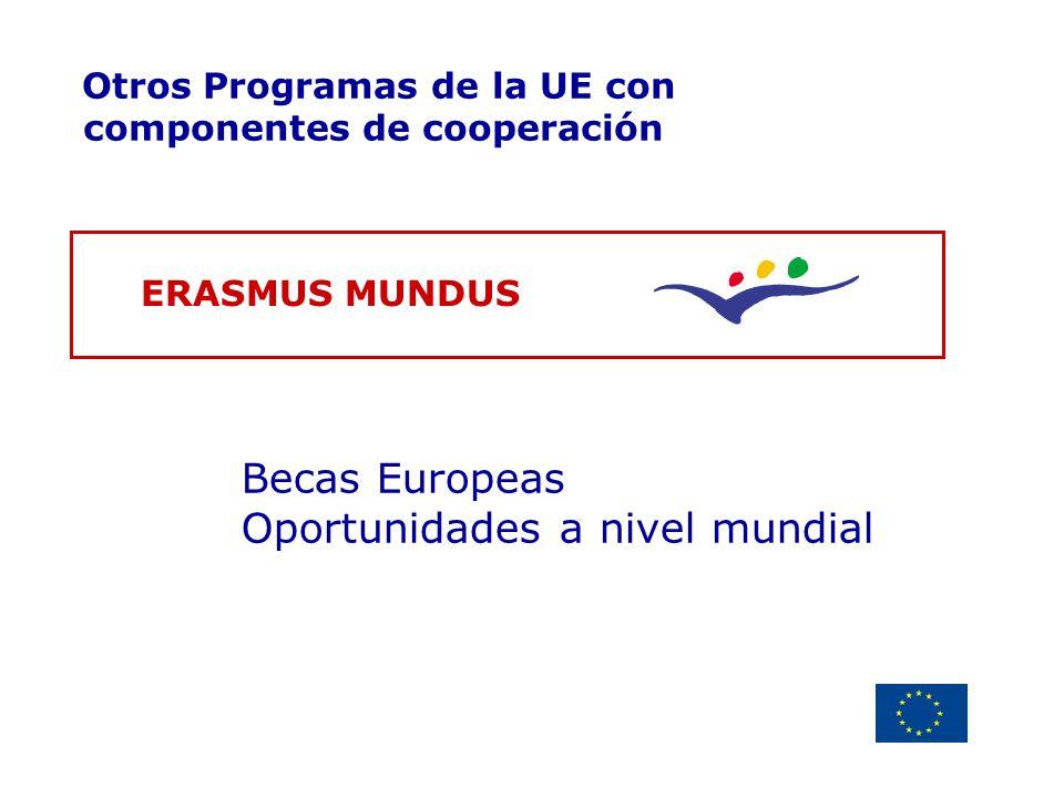 Delegación de la Unión Europea Uruguay Otros Programas de la UE con componentes de cooperación ERASMUS MUNDUS Becas Europeas Oportunidades a nivel mun
