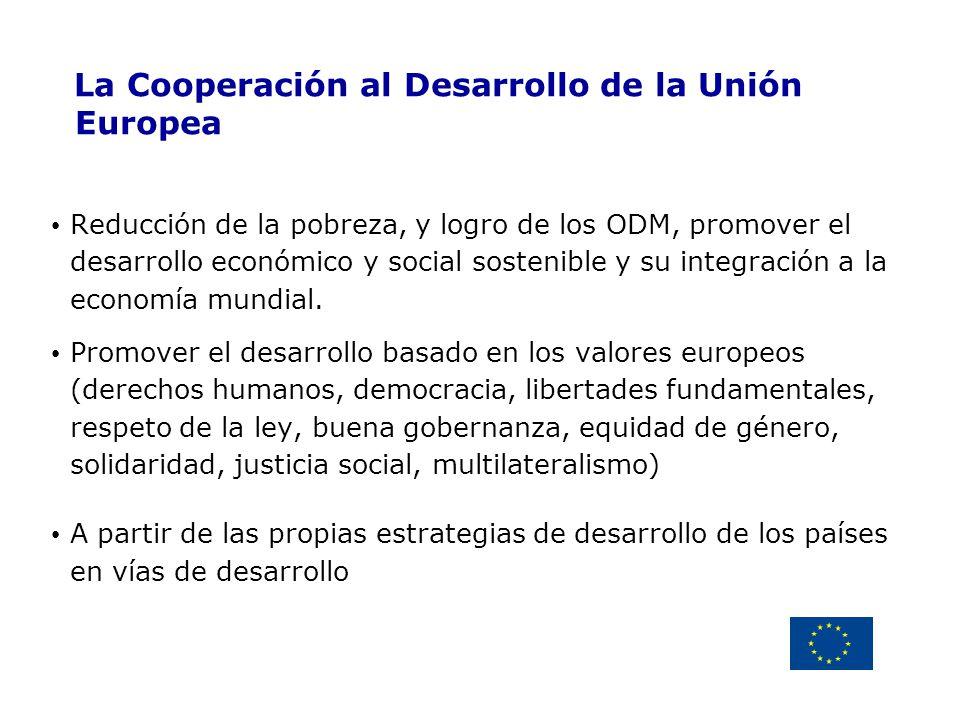 Delegación de la Unión Europea Uruguay La Cooperación al Desarrollo de la Unión Europea Reducción de la pobreza, y logro de los ODM, promover el desar
