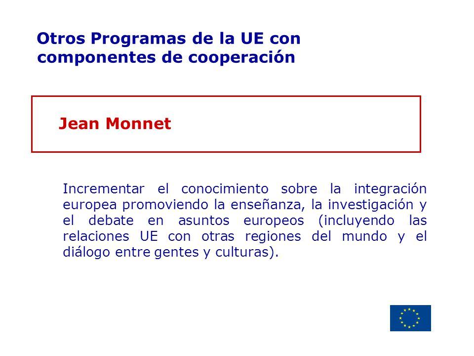 Delegación de la Unión Europea Uruguay Otros Programas de la UE con componentes de cooperación Jean Monnet Incrementar el conocimiento sobre la integr