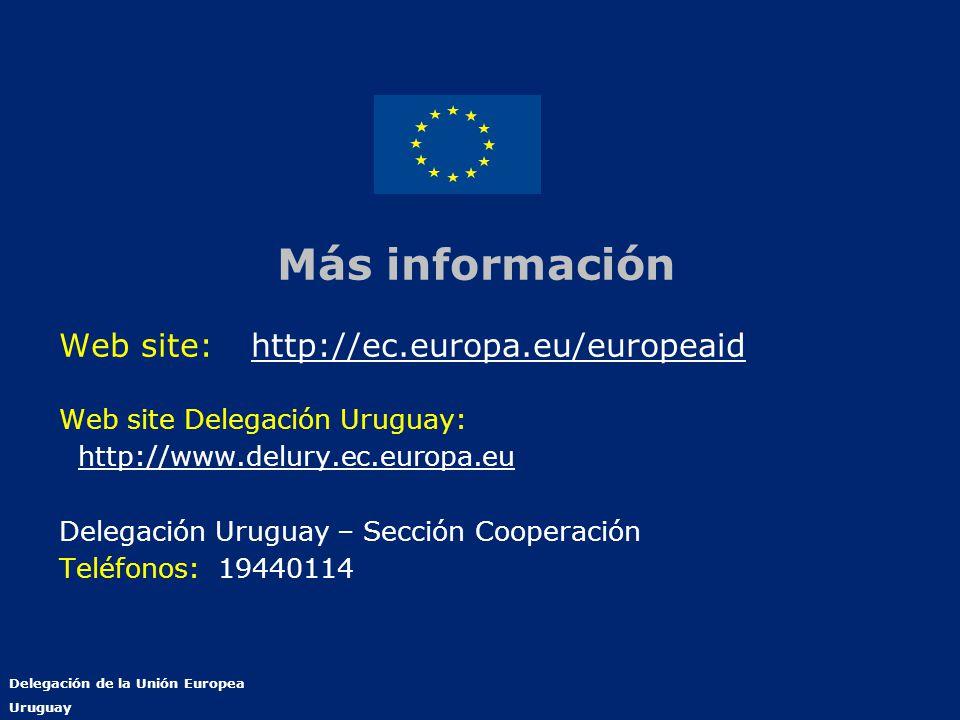 Delegación de la Unión Europea Uruguay Más información Web site:http://ec.europa.eu/europeaidhttp://ec.europa.eu/europeaid Web site Delegación Uruguay