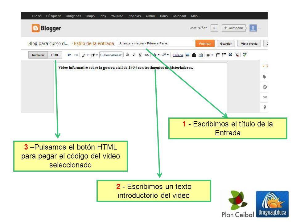1 - Escribimos el título de la Entrada 2 - Escribimos un texto introductorio del video 3 –Pulsamos el botón HTML para pegar el código del video seleccionado
